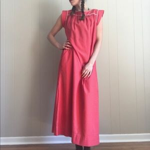 Vintage Cotton Full Length Red Prairie Dress Small